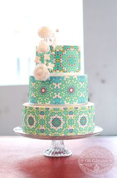 Colorful Tiled Patterned Tiered Cake