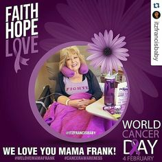 #Repost @itzfrancisbaby  February 4th is World Cancer Day! As many of you know our beloved @jancfrank mom of @jdfffn currently has cancer. I made this picture as a support for her because we ALL love her and Jason. So please let's share this to raise cancer awareness and to show @jancfrank how much she is loved!! Thank you!! #TeamJDF #welovemamafrank #cancerawareness #worldcancerday #teammamafrank #fckcancer #cancersucks #faithhopelove #beatcancer #fighter by eddie_nyc1