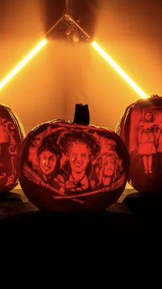 Watch This Mesmerizing Pumpkin Carving Video of the Sanderson Sisters, Wednesday Addams, and the Grady Twins If the first step to fall is a visit to the pumpkin patch, then the second is carving something spooky in the pumpkin. While some stick to the classic jagged toothed smile or witch on a broom, James Hall, expert pumpkin carver and season six winner of Food Network's Halloween Wars, took it a step further with these decked-out versions of everyone's favorite Halloween porch accessory. Halloween Porch, Halloween Pumpkins, Pumpkin Carver, Porch Accessories, Sanderson Sisters, Wednesday Addams, Food Network Recipes, Twins, Witch