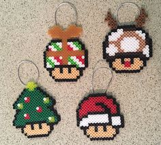 Mario Mushrooms Ornament Set by KatSprites on Etsy You are in the right place about Beading design Here we offer you the most beautiful pictures about the Beading photography you are looking for. Perler Bead Designs, Easy Perler Bead Patterns, Diy Perler Beads, Perler Bead Art, Pixel Beads, Fuse Beads, Christmas Perler Beads, Natal Diy, Iron Beads