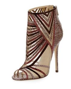 Kara Peep-Toe Snake Ankle Bootie, Multicolor by Jimmy Choo at Bergdorf Goodman...I need these!