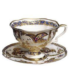 russian tea cup and saucer   Fantastic Butterflies Bone China Cup and Saucer