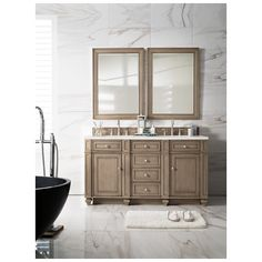 "Best Deal - James Martin Bristol 60"" Double Bathroom Vanity, White Washed Walnut 157-V60D-WW"