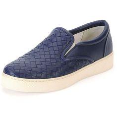 Bottega Veneta Napa Intrecciato Woven Skate Sneaker (49,440 INR) ❤ liked on Polyvore featuring shoes, sneakers, atlantic, stretch shoes, bottega veneta, braided shoes, round toe shoes and woven shoes