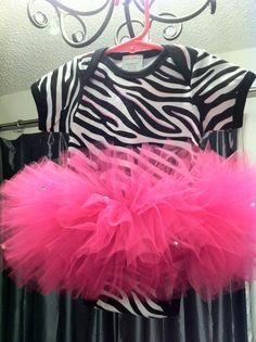 Baby TuTu Onesie Zebra and Hot Pink
