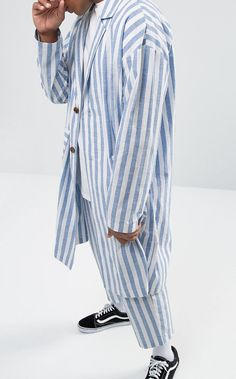 Reclaimed Vintage Inspired Duster Jacket In Stripe from ASOS (men, style, fashion, clothing, shopping, recommendations, stylish, menswear, male, streetstyle, inspo, outfit, fall, winter, spring, summer, personal)
