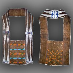 """Pouch, Blackfoot  Beaded leather pouch and beaded leather strap. Pouch beaded on both sides with yellow, green, blue, and red beads. Strap decorated with white, blue, and yellow beads. Pouch is 6"""" x 9"""".  courtesy of the Wisconsin Historical Society"""