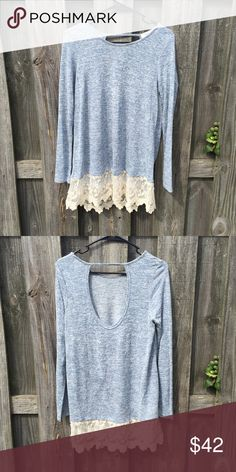 Long sleeved w/ lace top Lightweight, open back, lace on the bottom.                   78% polyester, 18% rayon, 4% spandex. Tops Tees - Long Sleeve