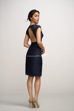 sexy deep v neck lace cover navy blue bridesmaid dress with open keyhole back