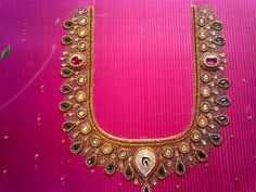 awesome!!#handwork#designer#blouse#embroidery#pink#stonework