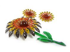 Vintage enamel sunflower brooch and earrings by Reconstitutions
