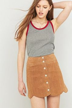 I love the suede skirt! A new twist to it. Urban Outfitters Scallop-Edge A-Line Taupe Suede Skirt