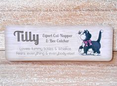 CAT NAME SIGN Personalised Basket Carrier House or by Honeymellows