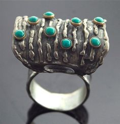 Vintage Turquoise Ring Sterling Silver 14k di SITFineJewelry