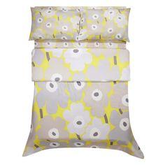 Marimekko Grey / Yellow Unikko Sateen Bedding