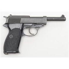 "Walther P1 DA semi-auto pistol, 9mm cal., 5"" barrel, mat black finish, checkered black plastic grip"