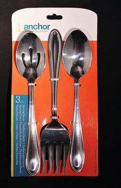 3 Piece Flatware Silverware Serving Set Slotted Spoon Fork Serving Spoon  #AnchorHocking