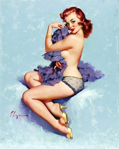 """Roxanne"" by Gil Elvgren, 1960. boy how society has changed, where have we went wrong in our thinking that taking a curvy woman and turning her into a stick person is sexy?"