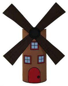 Manualidad con rollo de papel el molino de viento