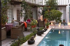 Abalone House Courtyard Outdoor Spaces, Outdoor Decor, Girls World, Courtyards, Wind Chimes, Backdrops, Relax, Lounge, Ocean