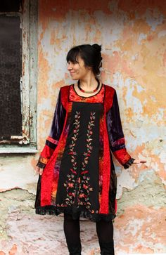Velvet embroidered and beaded recycled dress tunic by jamfashion
