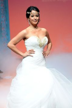 Courtney Reed from Broadway's Aladdin modeling the 2016 Disney's Fairy Tale Wedding By Alfred Angelo Bridal Princess Jasmine Gown