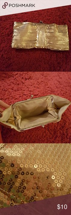 Gold Sequin Clutch About the size of a small wallet inside... I've had it for years and never used it... it's not my style... brand new! Not sure how much i payed for it but I'll guess.. Bags Clutches & Wristlets