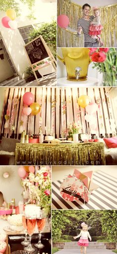 Happy Second Birthday Laelia! A pink, gold, black and white stripes party via visual vocabulary