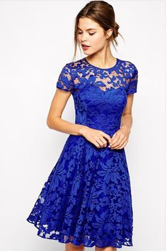 #WithChic #chicoftheday, Simple Cheap Chic, Shop WithChic Royal Blue Lace Overlay Skater Dress online.