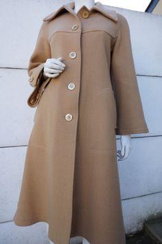 Manteau Vintage T 38 Laine WOOL COAT vtg TrapEZE cAPE TWIGGY retro PREPPy hIPPIE