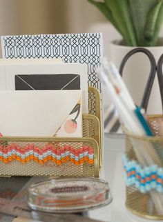 Want to dress up some boring office supplies? Soften them up with this fun cross-stitch project.