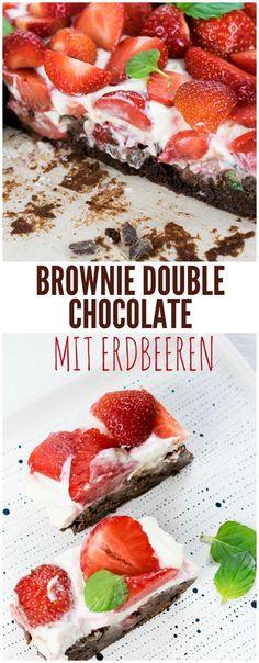 #Brownie mit Erdbeeren. Rezept für Brownies mit Erdbeeren. Double Chocolate Brownie.Erdbeerkuchen.