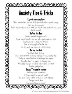 SCHOOL COUNSELOR-TEST ANXIETY SELF-ASSESSMENT  COPING SKILLS HANDOUT - TeachersPayTeachers.com