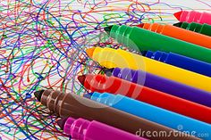 A close up of bright colourful, big markers