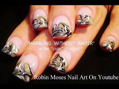 Water Marble with no water needed in this beautiful french tip with gold, black and white. Have fun painting nails!!! xoxoxo ALL DIY Robin Moses Nail Art LIN...