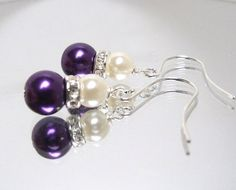Purple plum glass pearl earrings with silver rhinestone and ivory pearl