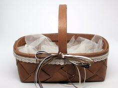 Rustic Decorated Centerpiece Baskets, matching, stained, lace, ribbons, set of 4 #Unbranded