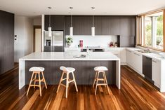 Albedor Ultra Finish doors and panels in Satin Royal Oyster and Grey Oak. Add warmth and depth with Albedor's organic colour range. Wood Floor Kitchen, Kitchen Doors, Grey Oak, Decorative Panels, Home Reno, Kitchen Styling, Kitchen Design, It Is Finished, Flooring