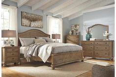 Trishley light brown bedroom furniture set