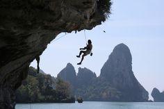 Rock climbing in Krabi, Thailand.