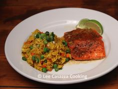 Izetta's Southern Cooking: BOURBON GLAZED ROASTED SALMON WITH YELLOW RICE PIL...