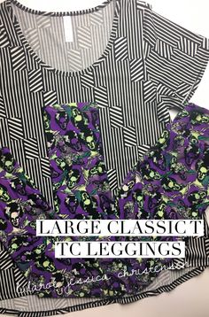L Classic (The Classic T runs true to size, so this will fit those that normally wear L tops), TC Leggings (for sizes 12-22). For more, come check out my group: www.facebook.com/groups/LuLaRoeJessicaChristensen #fashion #fall #fallfashion #lularoe #halloweenparty #frankensteinsbride #frankenstein #black #blackandwhite