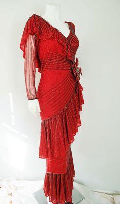 0327018c546e6 Carlota Alfaro Vintage 1970s RED Rosa Flamenco Ruffled Beaded Gown Dress -  36 bust #carlotaalfaro