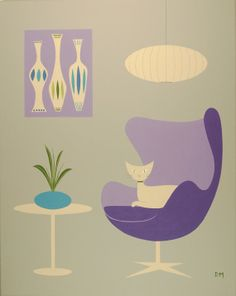 Mid Century Modern Inspired Acrylic Art Piece by donnamibus