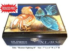 "Price Reduced !! Huge Humidor Cigar Box  w/ Oil Painting on Top ""Rooster"""