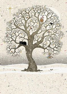 Christmas Oak - christmas card design by Jane Crowther for Bug Art greeting cards.