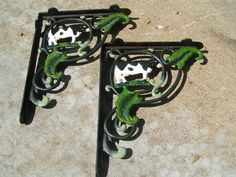 Cast Iron Dairy COW Wall Braces Shelf Corbels Brackets HAND Painted Perfect for the rustic or vintage kitchen Cow Kitchen, Vintage Kitchen, Kitchen Decor, Shelf Brackets, Wood Shelves, Braces, Cows, Cast Iron, Farmhouse Decor