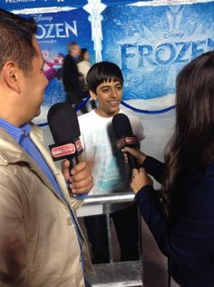 """Jessie"" star Karan Brar walked the white carpet at Disney's ""Frozen"" premiere that is taking place at the El Capitan Theatre in Hollywood, California, Karan Brar, White Carpet, Cameron Boyce, Disney Stars, Disney Frozen, In Hollywood, Jessie, It Cast, Walking"