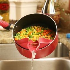 A handy spout that easily clips onto bowls, pots, pans, etc. for mess-free precise pouring and straining.