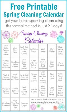Free Printable Spring Cleaning Calendar-- one task a day gets your spring cleaning done in just 31 days! Check out the full post at www.makinglemonadeblog.com for tips and tricks on getting the most from this FREE printable! #springcleaning #printable #cleaning